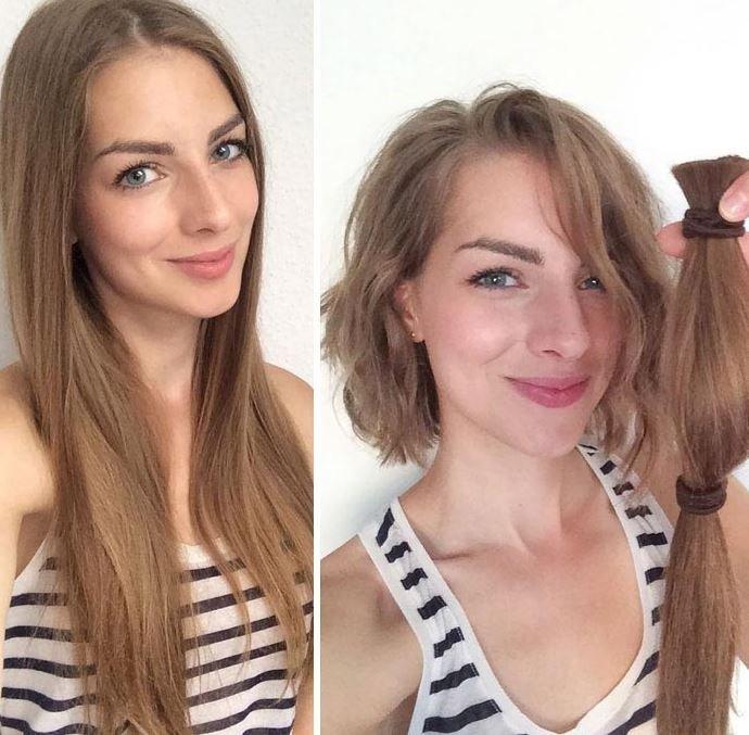 Девушки, сделавшие себе короткую стрижку, «до» и «после» (18 фото)