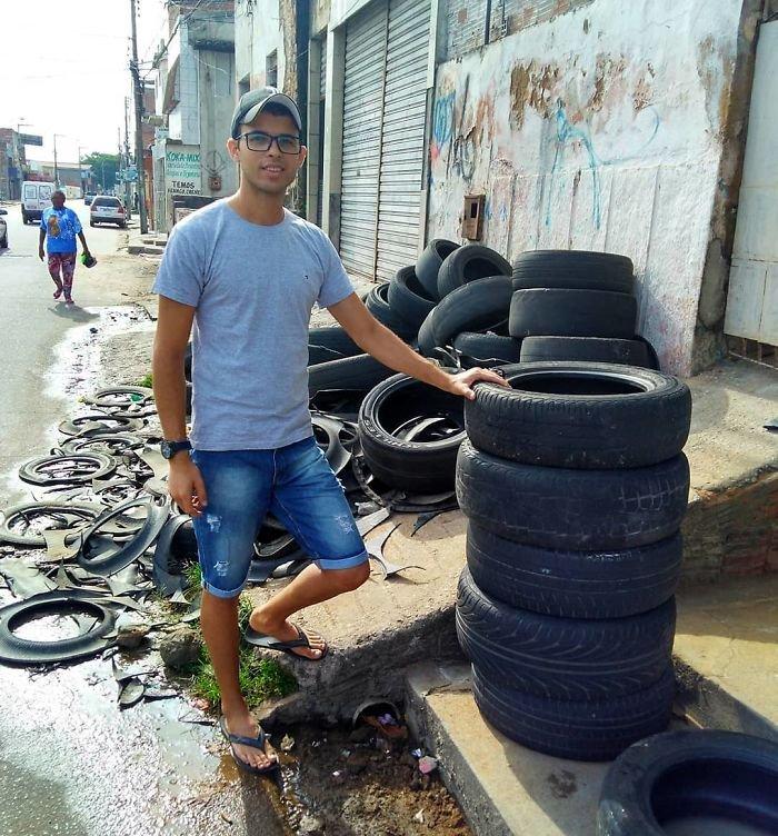 Бразильский мастер превращает старые шины в лежаки для животных