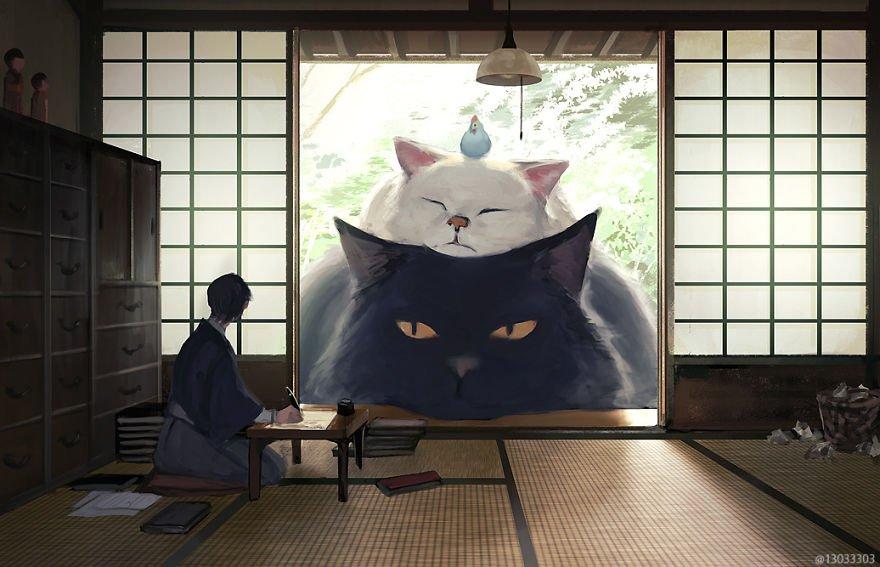 Японский иллюстратор представляет мир, в котором люди живут с огромными животными