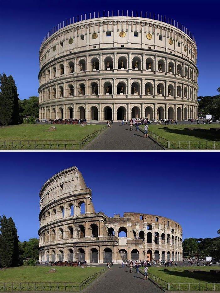 Как выглядели 6 знаменитых римских сооружений в прошлом и в нынешнее время