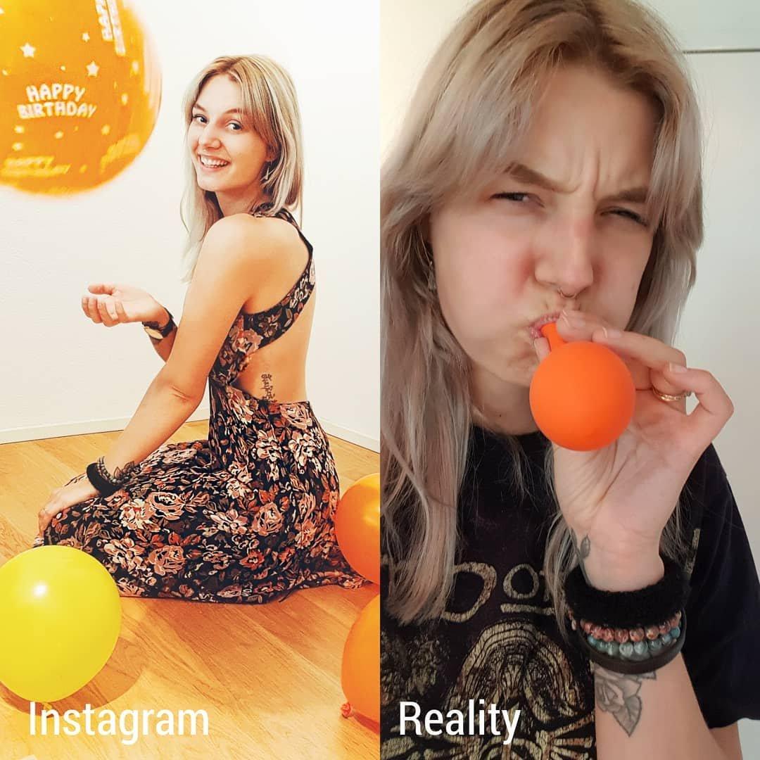 Девушка наглядно демонстрирует отличие между реальностью и Инстаграмом