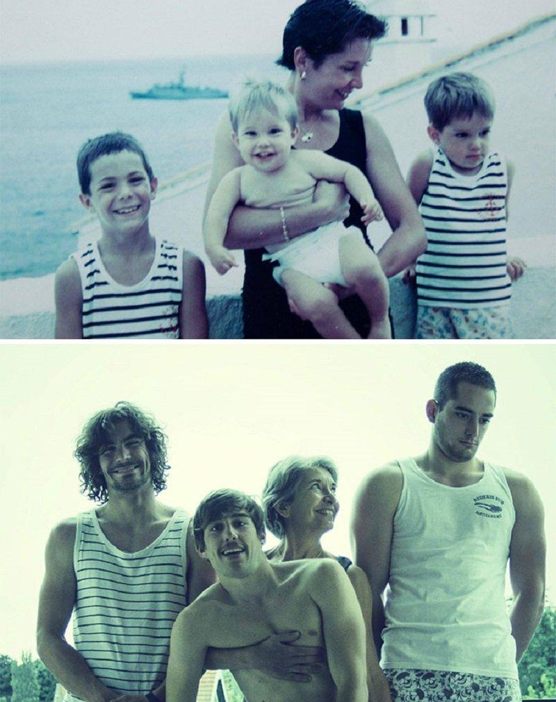 12 семейных фотографий воссозданных через годы