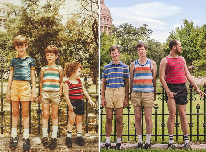 15 фото, где люди повторяют свои детские фото