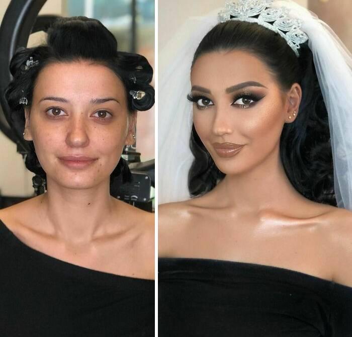 15 женщин до и после свадебного макияжа от профессионала